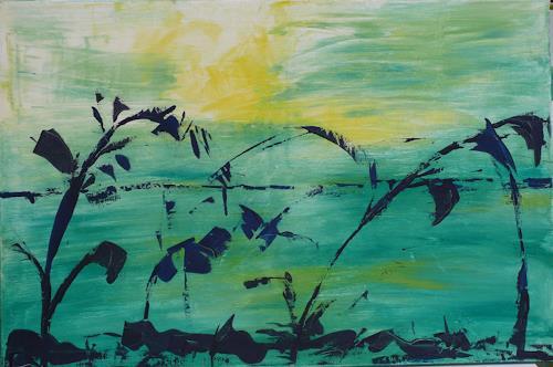 Veronika Ulrich, Abendstimmung, Landschaft: See/Meer, Romantik: Sonnenuntergang, Abstrakter Expressionismus