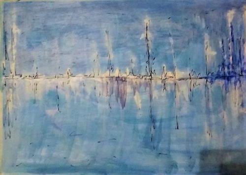 Veronika Ulrich, o.T., Landschaft: See/Meer, Abstraktes, Abstrakter Expressionismus