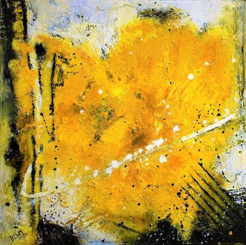 Christine Blum, Gelbes Herz, Abstraktes, Abstrakte Kunst, Expressionismus