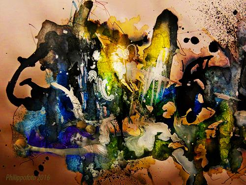 Rüdiger Philipp, die Erde ist eine Orange !, Abstraktes, Fantasie, Abstrakte Kunst, Abstrakter Expressionismus