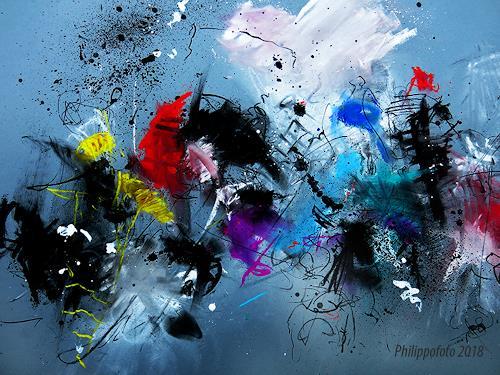 Rüdiger Philipp, einfach nur übereinander !, Abstraktes, Fantasie, Abstrakter Expressionismus
