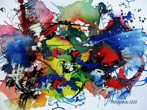 Rüdiger Philipp, wir warten erstmal ab !, Abstraktes, Abstraktes, Abstrakter Expressionismus