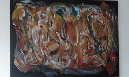 Heinz Kilchenmann, Drei Wurzeln im Gestein, Fantasie, Abstrakter Expressionismus