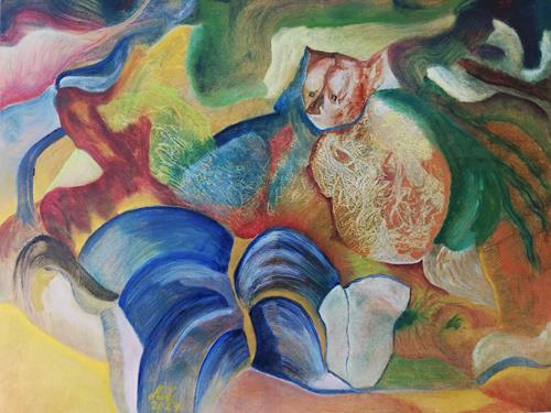 Heinz Kilchenmann, Cat radiates warmth, Abstraktes, Abstrakter Expressionismus