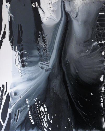 Annegret Poschlep, lass fliessen die zeit, Abstraktes, Bewegung, Action Painting, Abstrakter Expressionismus