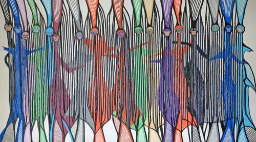 LK, O.T., Menschen: Gruppe, Abstraktes, Abstrakte Kunst