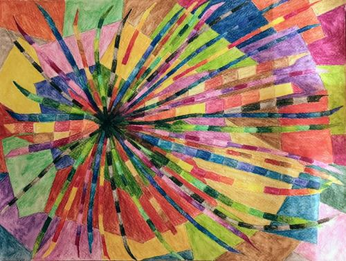 LK, Farbstudie, Aquarell, Abstraktes, Fantasie, Abstrakte Kunst