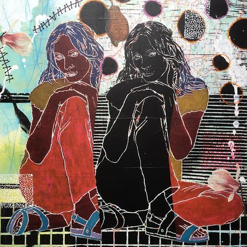 Marita Tobner, UMA III_2 (Diptychon), Menschen: Frau, Menschen: Gruppe, Gegenwartskunst, Expressionismus