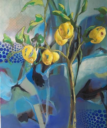 Marita Tobner, Im Land wo die Zitronen blühen, Landschaft, Pflanzen, Gegenwartskunst, Expressionismus