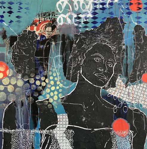 Marita Tobner, make more noise, Menschen: Frau, Menschen: Gesichter, Gegenwartskunst, Abstrakter Expressionismus