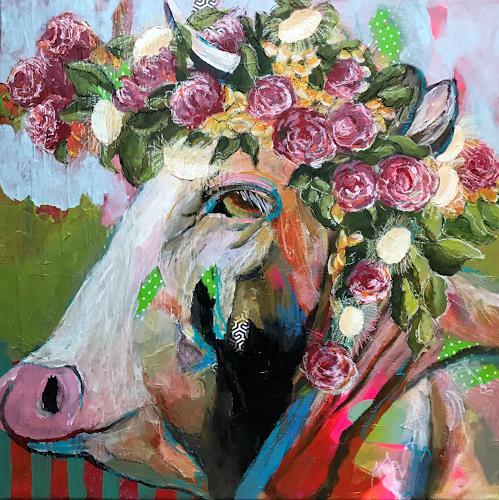 Marita Tobner, Tussnelda griast von dr Alm ra, Tiere: Land, Skurril, expressiver Realismus, Abstrakter Expressionismus