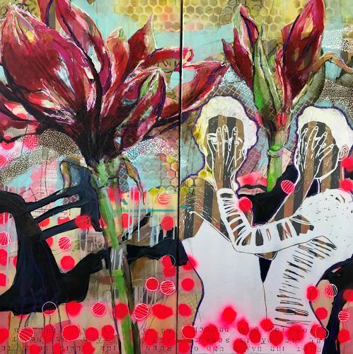Marita Tobner, High Society (Diptychon), Menschen: Frau, Pflanzen: Blumen, Konkrete Kunst, Abstrakter Expressionismus