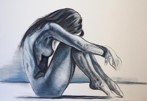 Leon-Art, Contemplation #1, Menschen: Frau, Akt/Erotik: Akt Frau, Neo-Impressionismus, Expressionismus