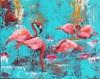Elisabeth Burmester, Flamingobad, Natur: Wasser, Diverse Tiere, Gegenwartskunst, Expressionismus