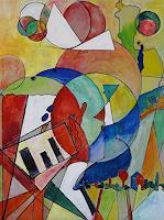 Zvonimir-Brumec-Menschen-Frau-Musik-Instrument-Moderne-Abstrakte-Kunst-Action-Painting