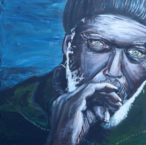 Peter Vetsch, smokin', Menschen: Mann, Gefühle: Depression, Realismus, Abstrakter Expressionismus