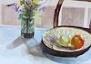 P. Vetsch, Stilleben mit Apfel und Zitrone