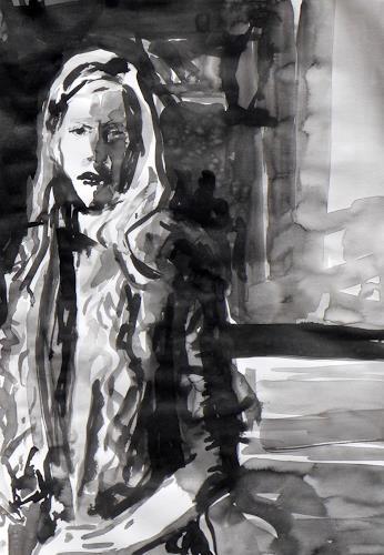 Peter Vetsch, Karin, Menschen: Porträt, Menschen: Frau, expressiver Realismus, Abstrakter Expressionismus