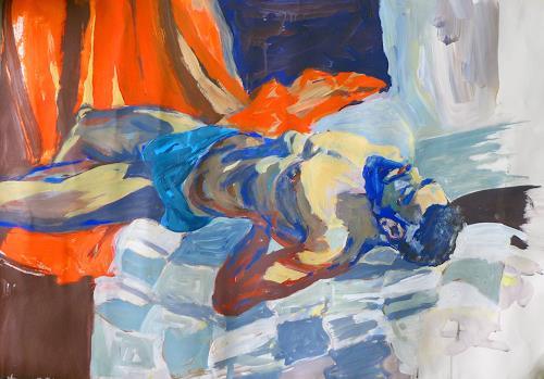 Peter Vetsch, Eduardo liegend in Badehose, Menschen: Mann, Menschen: Modelle, expressiver Realismus, Abstrakter Expressionismus