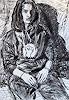 Peter Vetsch, Porträt mit Kapuze, Kohle