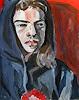 Peter Vetsch, Porträt mit Kapuze, Acryl