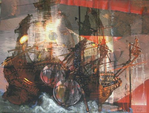 Albina E. Ringel, Schiff, Fantasie, Gesellschaft, Gegenwartskunst, Abstrakter Expressionismus