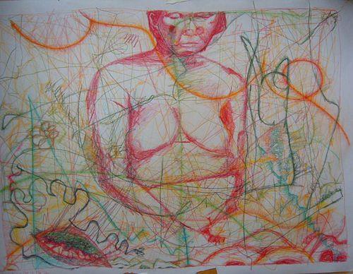 Mirjam Schadendorf, Unordentliche Wurzeln, Menschen: Frau, Akt/Erotik: Akt Frau, Moderne, Abstrakter Expressionismus
