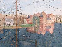 dieter-jacob-Landschaft-Fruehling-Diverse-Bauten-Moderne-Impressionismus-Pointilismus