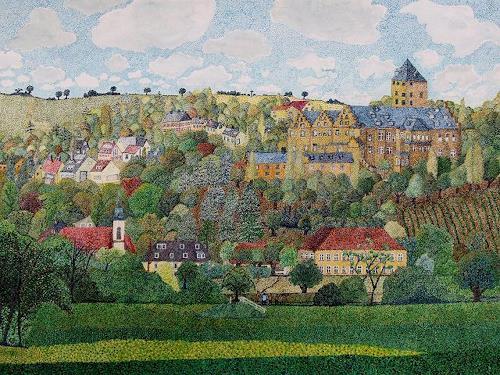 dieter jacob, Mainberg, Landschaft: Berge, Architektur, Pointilismus, Expressionismus