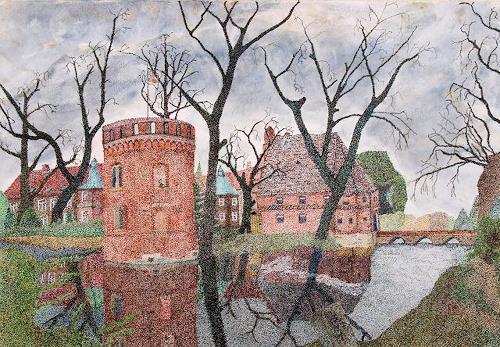 dieter jacob, Schloss Bladenhorst, Diverse Bauten, Landschaft: Herbst, Pointilismus, Expressionismus