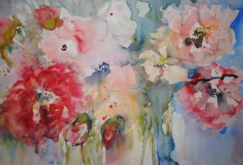 Christine Steeb, Des Sommers letzte Rosen, Pflanzen: Blumen, Natur, Abstrakte Kunst, Expressionismus