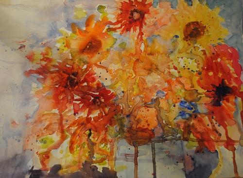 Christine Steeb, Herbststrauß, Pflanzen: Blumen, Natur, Abstrakte Kunst, Expressionismus