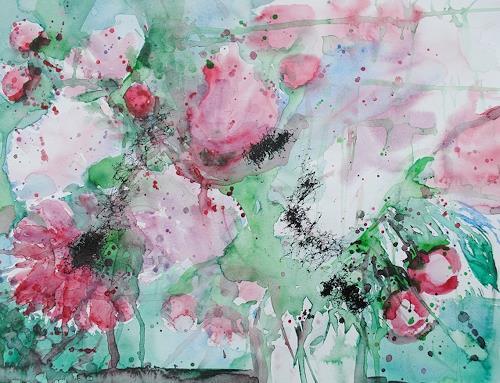 Christine Steeb, Pfingstrosen (3), Pflanzen, Natur, Gegenwartskunst, Expressionismus