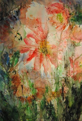 Christine Steeb, Pfingstrosen (4), Pflanzen: Blumen, Natur, Gegenwartskunst, Expressionismus