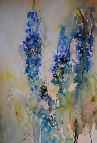 Christine Steeb, Rittersporn, Pflanzen: Blumen, Natur, Abstrakte Kunst, Expressionismus