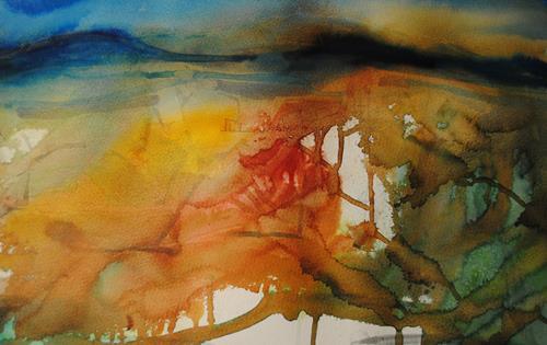 Christine Steeb, Sonnenaufgang, Landschaft, Landschaft: Berge, Gegenwartskunst