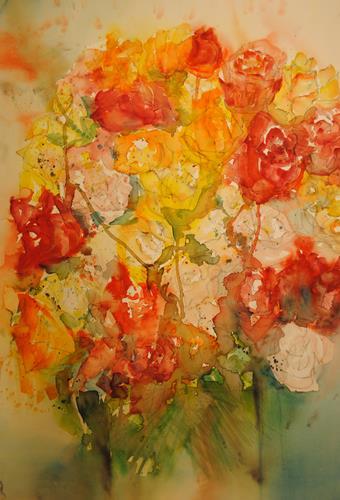 Christine Steeb, O/T, Pflanzen: Blumen, Natur, Gegenwartskunst, Expressionismus
