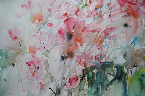 Christine Steeb, Cosmeen, Pflanzen: Blumen, Natur, Gegenwartskunst, Expressionismus