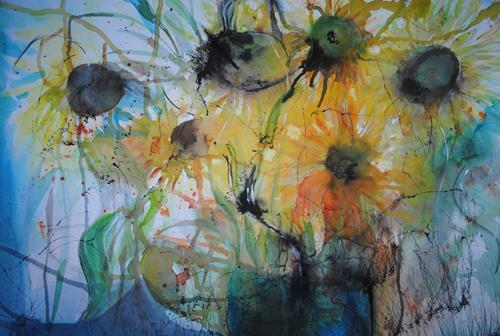 Christine Steeb, O/T, Pflanzen, Pflanzen: Blumen, Gegenwartskunst, Abstrakter Expressionismus