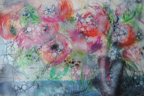 Christine Steeb, Pfingstrosen, Pflanzen, Pflanzen: Blumen, Gegenwartskunst, Expressionismus