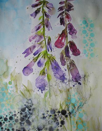 Christine Steeb, Fingerhut, Pflanzen, Pflanzen: Blumen, Gegenwartskunst, Expressionismus