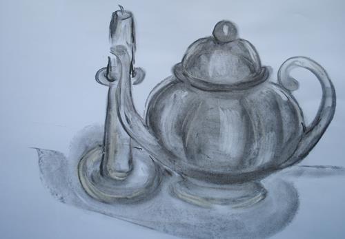 Christine Steeb, Teezeit, Dekoratives, Situationen, Gegenwartskunst
