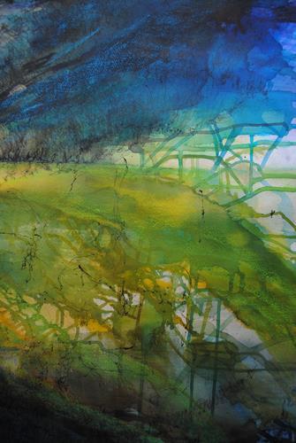 Christine Steeb, Frühlingsblau, Landschaft: Frühling, Natur, Gegenwartskunst