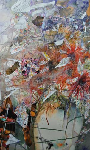 Christine Steeb, Adieu Café?, Fantasie, Pflanzen: Blumen, Gegenwartskunst, Expressionismus