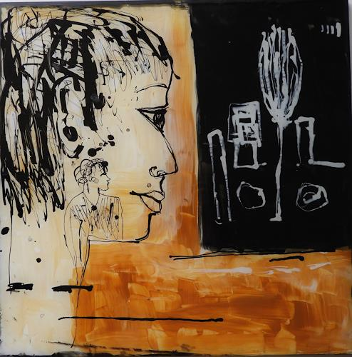 Heidrun Becker, Fraglich, Menschen, Menschen, Abstrakte Kunst
