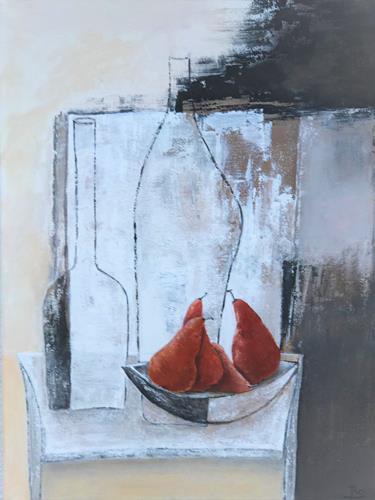 Rosemarie Salz, Rote Birnen, Abstraktes, Abstrakte Kunst, Abstrakter Expressionismus