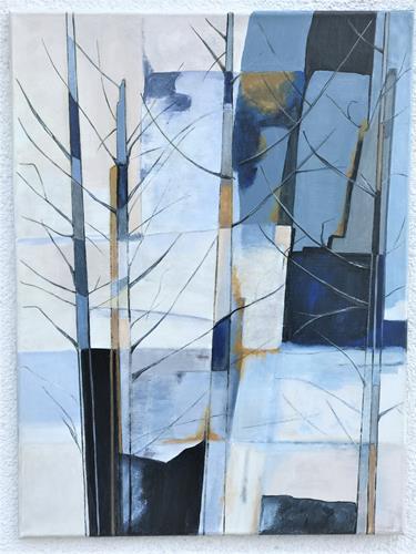 Rosemarie Salz, Blaue Bäume, Abstraktes, Abstrakte Kunst
