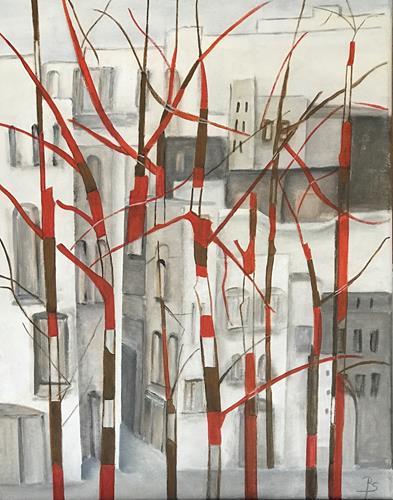 Rosemarie Salz, Rote Bäume, Abstraktes, Abstrakte Kunst