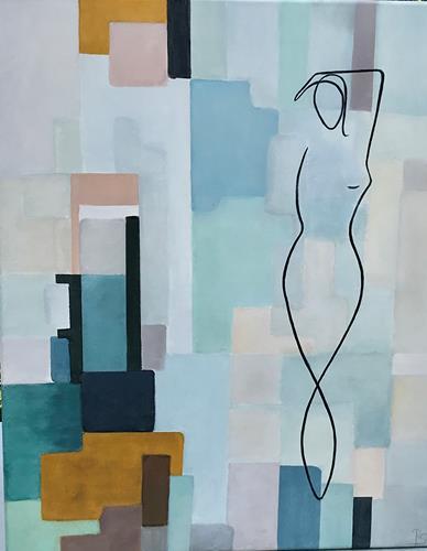 Rosemarie Salz, Farbenspiel 4, Menschen: Frau, Abstrakte Kunst