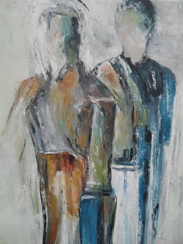 Rosemarie Salz, Figurativ 4, Menschen: Paare, Abstrakte Kunst